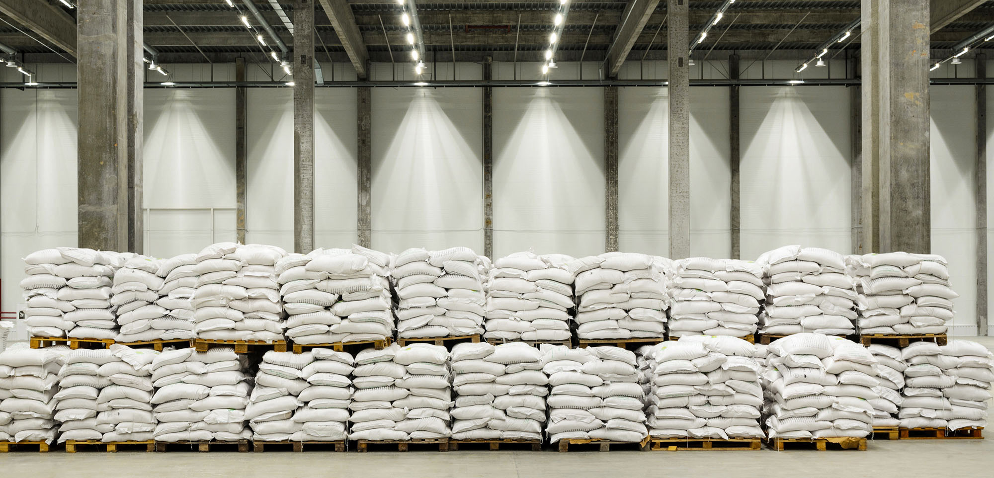 Well Lit Warehouse with Sacks of Rice, Groats and Flour